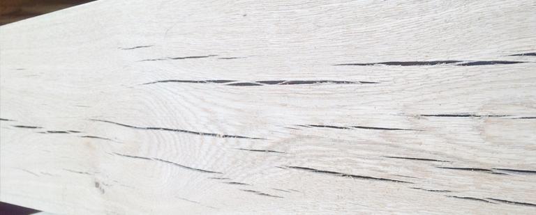 Air dried oak beam close up
