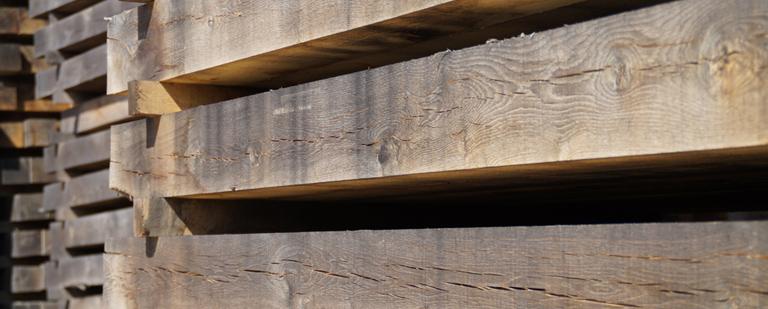 oak beams pile