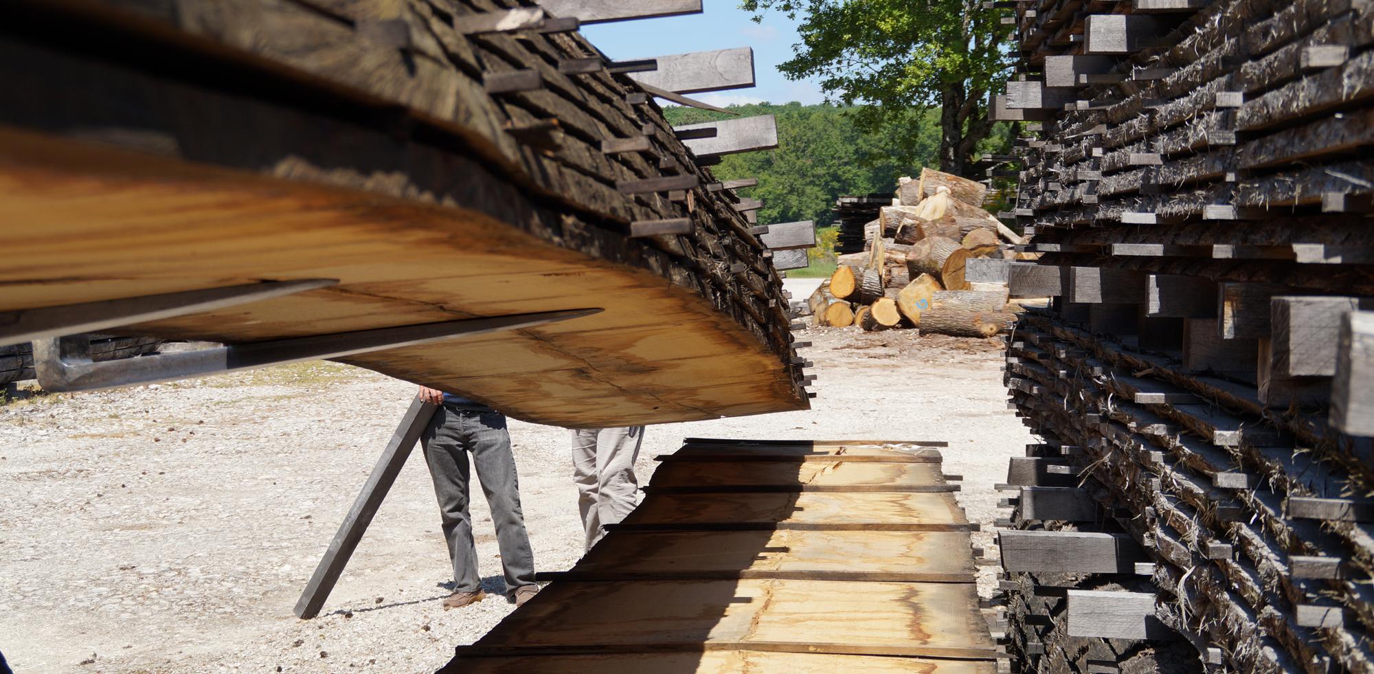 Oak beams pile moving